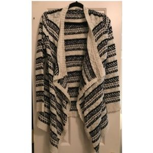 Black and White Striped Knit Cardigan